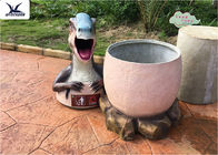 Funny Dinosaur Trash Can Custom Fiberglass Statues For Amusement Park / Playground